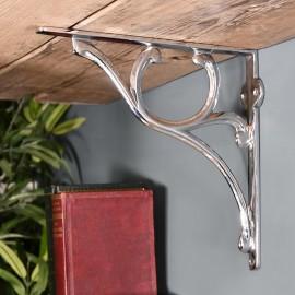 Scrolled Bright Chrome Shelf Bracket in Situ