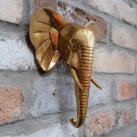 Gold  Elephant Head Wall Art in the Home