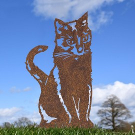 Rustic Sitting Cat Silhouette