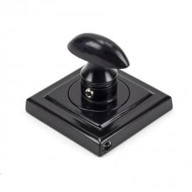Sleek Black Square Thumbturn Set with Plain Cover