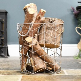 Small Pewter Finish Wire Work Log Basket