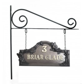 Double sided Bronze Flower Fairy House name sign on hanging bracket