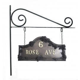 Bronze Double sided  Rose design House Sign on Wall Mounted Bracket