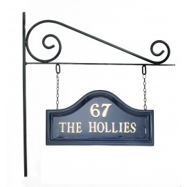 Blue Arched Double sided House sign on Wall Mounted Bracket