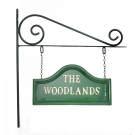 Green Arched House sign on Wall Mounted Bracket
