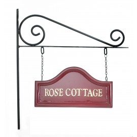 Claret Arched House sign on Wall Mounted Bracket