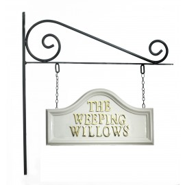 White Arched Hanging Sign on Wall Mounted Bracket