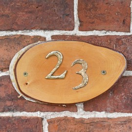 Natural Hard Wood Rustic House Number Sign - 23