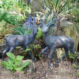 Stag and Doe Garden Sculpture Set