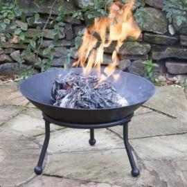 Round Steel Fire Bowl in Situ in the Garden