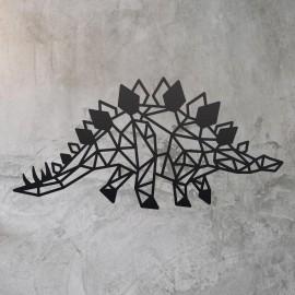 Geometric Iron Stegosaurus Wall Art on a Rustic Wall