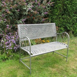 """""""Stockwell Loft"""" Garden Bench Finished in an Antique Pewter Finish"""