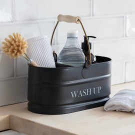 Black Wash Up Storage Tidy with Wooden Handle