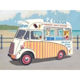 Classic Stripy Ice Cream Van Metal Sign