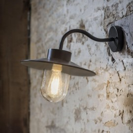 Swan Neck Steel Barn Wall Light in Situ