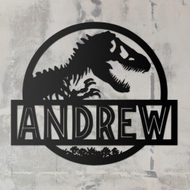 T-Rex Steel Monogram Steel House Name Sign in Use on a Rustic White Wall