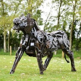 Tiger Recycled Metal Parts Sculpture in Situ in the Garden