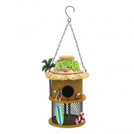 "Caravan Chain Hanging Bird House in a ""Tiki Bar"" Style"