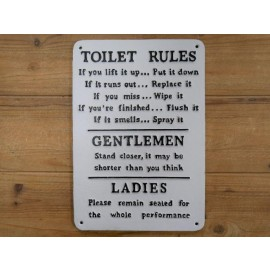 """""""Toilet Rules"""" Iron Sign in White"""