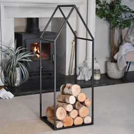 """""""Town House"""" Iron Log Rack Holding Logs in the House"""