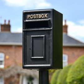 Traditional Post Box and Stand in Black with Gold Lettering