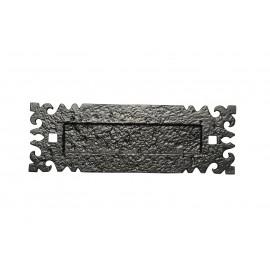 Traditional Black Iron Fleur-De-Lys Gothic Letter Plate