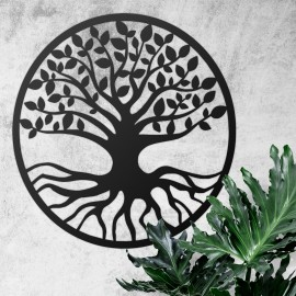 """Black Round """"Tree of Life"""" Wall Art in Situ on a White Wall"""