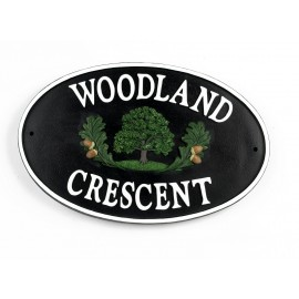 Cast Iron Effect Oval House Name Sign - Oaktree