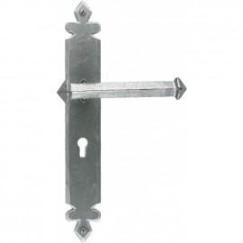 Pewter Tudor Design Lever Handle With Keyhole