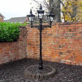 Triple Headed Harrogate Lamp Post set in Walled Garden