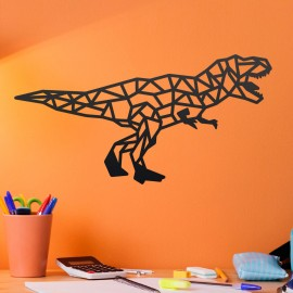 Geometric Iron T-Rex Wall Art on an Orange Wall