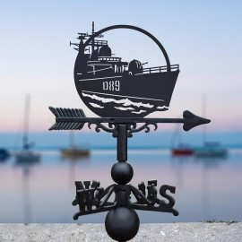 HMS Exeter Weathervane in Situ by a Boat Dock