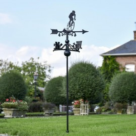 Cyclist Free Standing Weathervane in the Garden