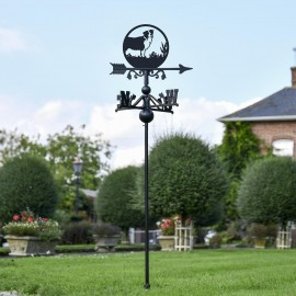 Border Collie Free Standing Weathervane in Use in the Garden
