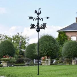 Contemporary Cockerel Free Standing Weathervane in the garden