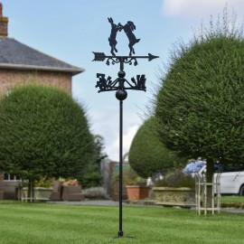 Boxing Hares Free Standing Weathervane in Use in the Garden