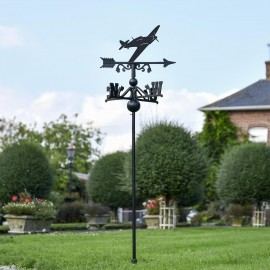 Hurricane Aircraft Free Standing Weathervane in Use Outdoors