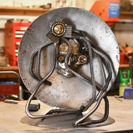 Robotic Head Interior Sculpture Created From Used Parts