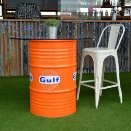 """Orange """"Gulf"""" Barrel Design Table in Situ"""
