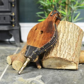 Traditional Hardwood and Leather Fireplace Bellows