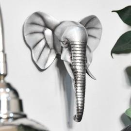 Silver Elephant Head Wall Art
