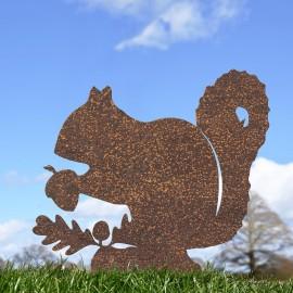 Rustic Squirrel Silhouette Ornament in the Garden