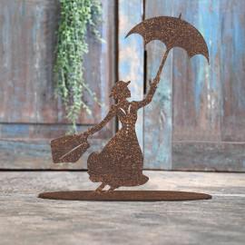 Mary Poppins Rustic Iron Door Stop in Front of a Rustic Blue Door