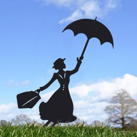 Mary Poppins Silhouette Ornament in the Garden