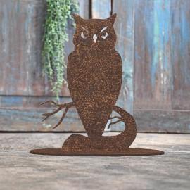 Owl Rustic Iron Door Stop in Front of a Rustic Blue Door