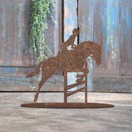 Show Jumping Horse Rustic Iron Door Stop in Front of a Rustic Blue Door