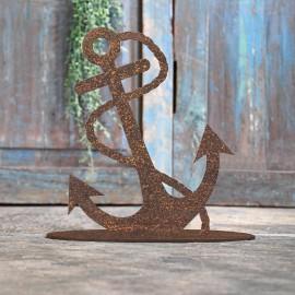 Anchor Rustic Iron Door Stop in Front of a Rustic Blue Door