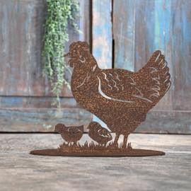 Hen & Chicks Rustic Iron Door Stop in Front of a Rustic Blue Door