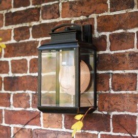 """""""Arlsbury House"""" Dark Bronze Traditional Wall Light with Copper Back Plate"""