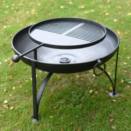 Simple Kadai Fire Bowl with Swing Arm Barbecue Rack in Situ i the garden